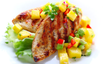 Persian Lime Marinated Chicken with Mango Salsa from Olive Morada