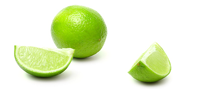 Slice and lime on white background (isolated)