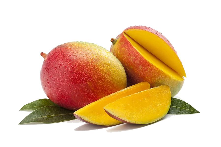 Mango fruit with mango cubes. juice mango slice, summer fruit
